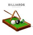 realistic billiards snooker pool balls cue vector image vector image