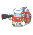 sailor with binocular fire truck mascot cartoon vector image vector image