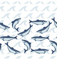 seamless pattern with herring fish pacific vector image