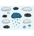 set of hand drawn doodle clouds rainy day vector image