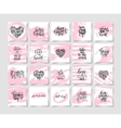 set of pink grunge happy valentines day vector image