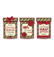 Set of three vintage christmas sale labels vector image vector image