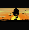 silhouette scene with wind turbines in the field vector image vector image