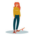 skateboarding girl young girl vector image