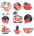 summer emblems set of hand drawn lettering vector image vector image