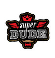 super dude - t-shirt print happy fathers day vector image vector image