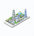 three-dimensional building on a white phone vector image vector image