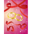 two gold rings and ribbons vector image vector image