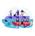 water plastic pollution people throw garbage vector image vector image