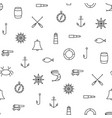 white and black ship sea line icons seamless vector image