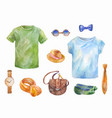 watercolor set of clothes hand drawn sketches vector image