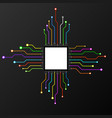 abstract colorful cpu microprocessor microchip vector image