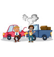 accident scene with car crash vector image vector image