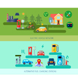Alternative Energy Vehicles Banners Set vector image vector image