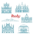 Architecture and nature travel landmarks of Italy vector image vector image