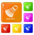 badminton icons set color vector image vector image