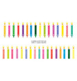 birthday candles colorful set isolated on white vector image