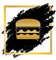 burger simple sign golden icon at black vector image