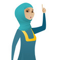 business woman with open mouth pointing finger up vector image vector image