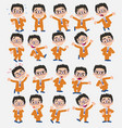 cartoon character businessman with glasses set vector image