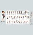 cartoon cute office girl character big set vector image vector image