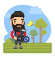cartoon photographer with camera vector image vector image