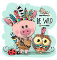 cartoon tribal pig and owl with feathers vector image