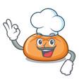 chef hamburger bun character cartoon vector image