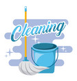 cleaning blue bucket and mop tools vector image vector image