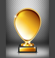 cup golden trophy on pedestal with nameplate vector image