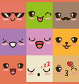 cute kawaii emoticon face vector image vector image
