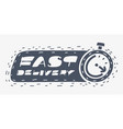 delivery icon with stopwatch on white vector image
