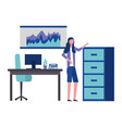 employee woman in the office with cabinet desk vector image vector image