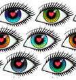 eyes lovers seamless pattern vector image vector image