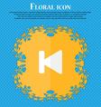 fast backward Floral flat design on a blue vector image vector image