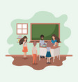 female teacher in the classroom with students vector image vector image