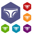 female underwear icons set hexagon vector image vector image