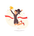 finish line running wonan athletic victory icon vector image