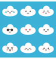 Flat design cartoon cute cloud characters vector image vector image