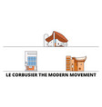 france le corbusier modern movement flat vector image vector image