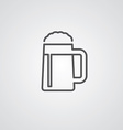 glass of beer outline symbol dark on white vector image