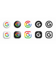 google modern 3d and flat icons set vector image