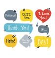 hand drawn set speech bubbles with handwritten vector image vector image