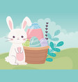 happy easter day cute rabbit eggs in basket vector image