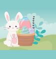 happy easter day cute rabbit eggs in basket vector image vector image