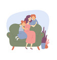 happy family mother hugs children daughter and son vector image vector image