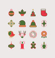 happy new year lined icons collection vector image