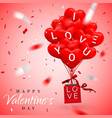 happy valentines day background red balloon in vector image vector image