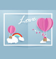 heart shape balloons flying over clouds vector image vector image