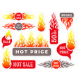 hot price sale text labels flame design vector image vector image